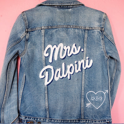 Custom Bride Chainstitch Embroidery | Wedding Denim Jacket - Daily Disco
