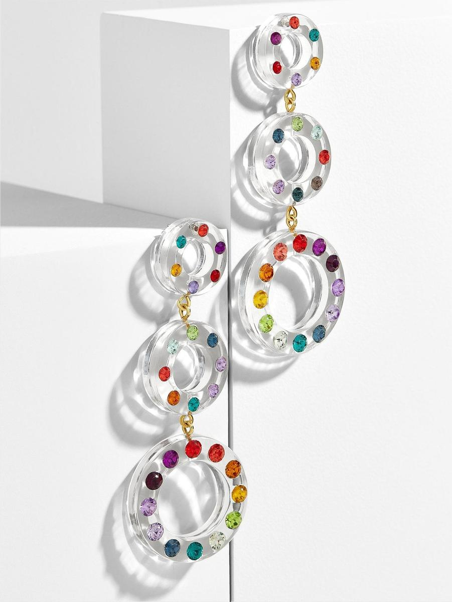 Clear Resin Swarovski Rainbow Long Hoop Earrings - Abbey Eilermann