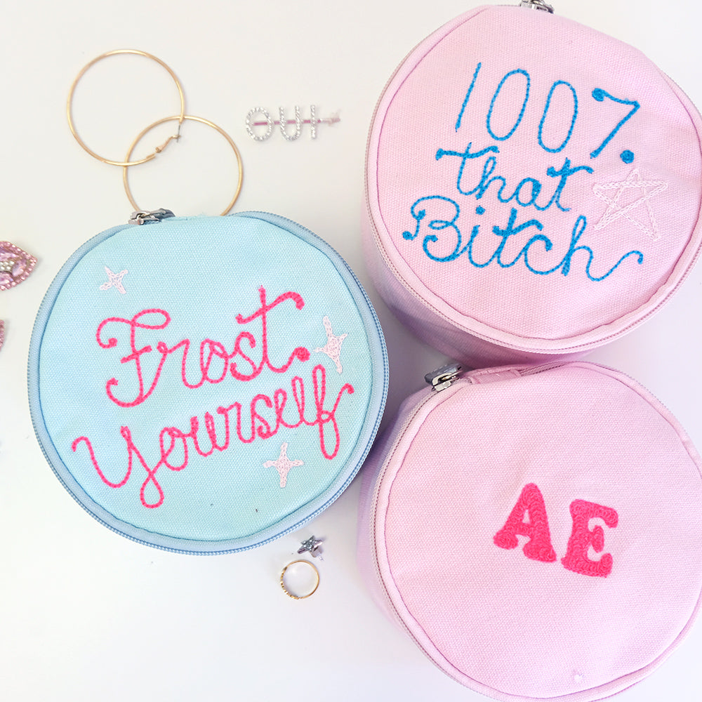 Personalized Round Jewelry Pouch - Abbey Eilermann