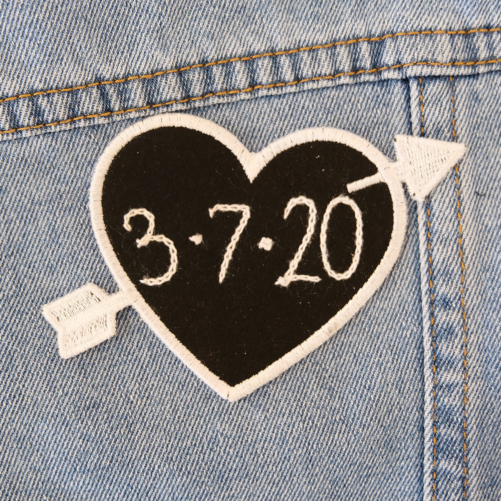 Custom Black Heart Patch Personalized - Abbey Eilermann