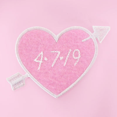 Custom Pink Heart Patch Personalized - Abbey Eilermann