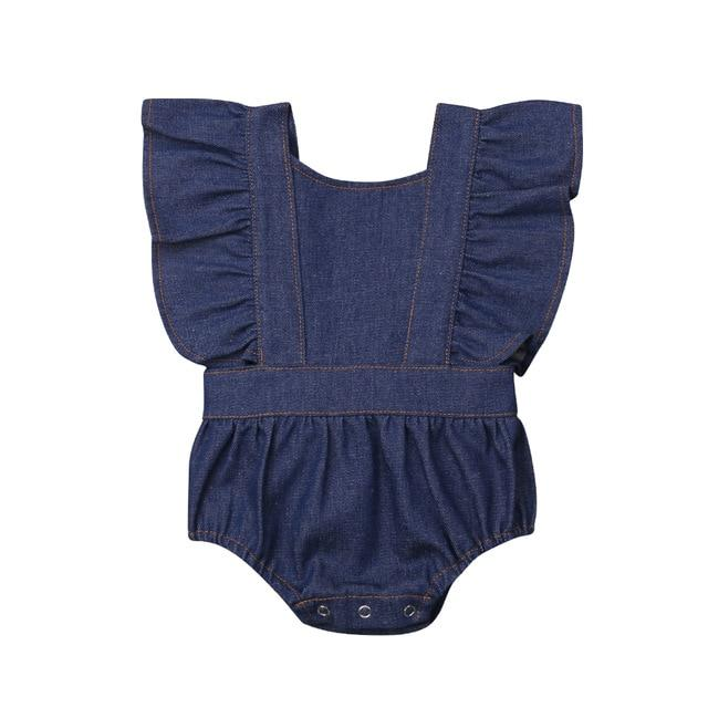 Denim Ruffle Romper - Abbey Eilermann
