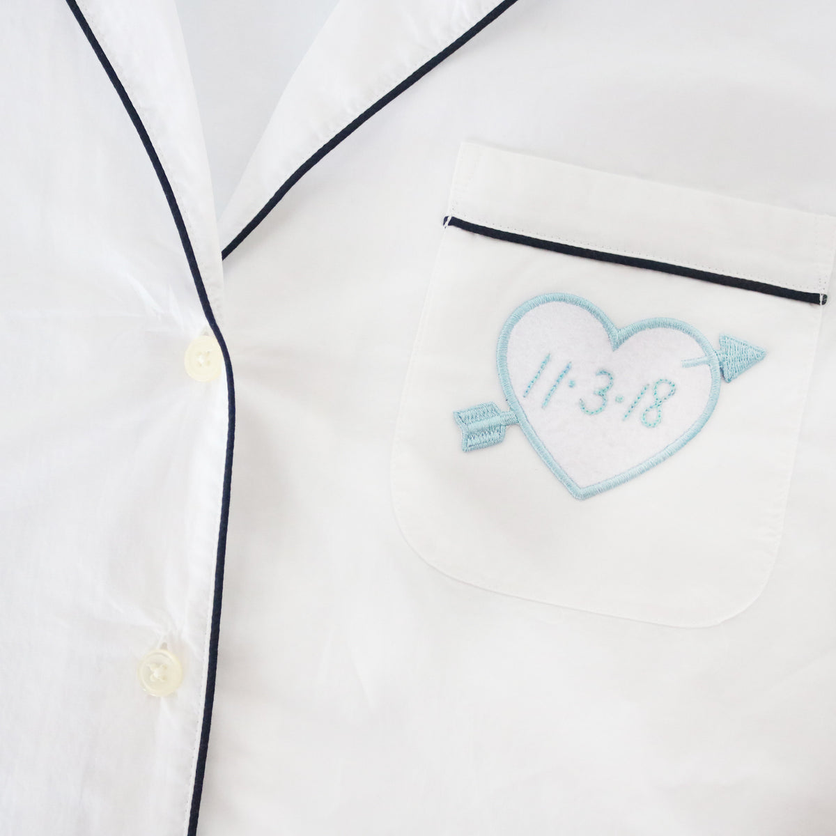 Custom White Heart Patch Personalized - Abbey Eilermann
