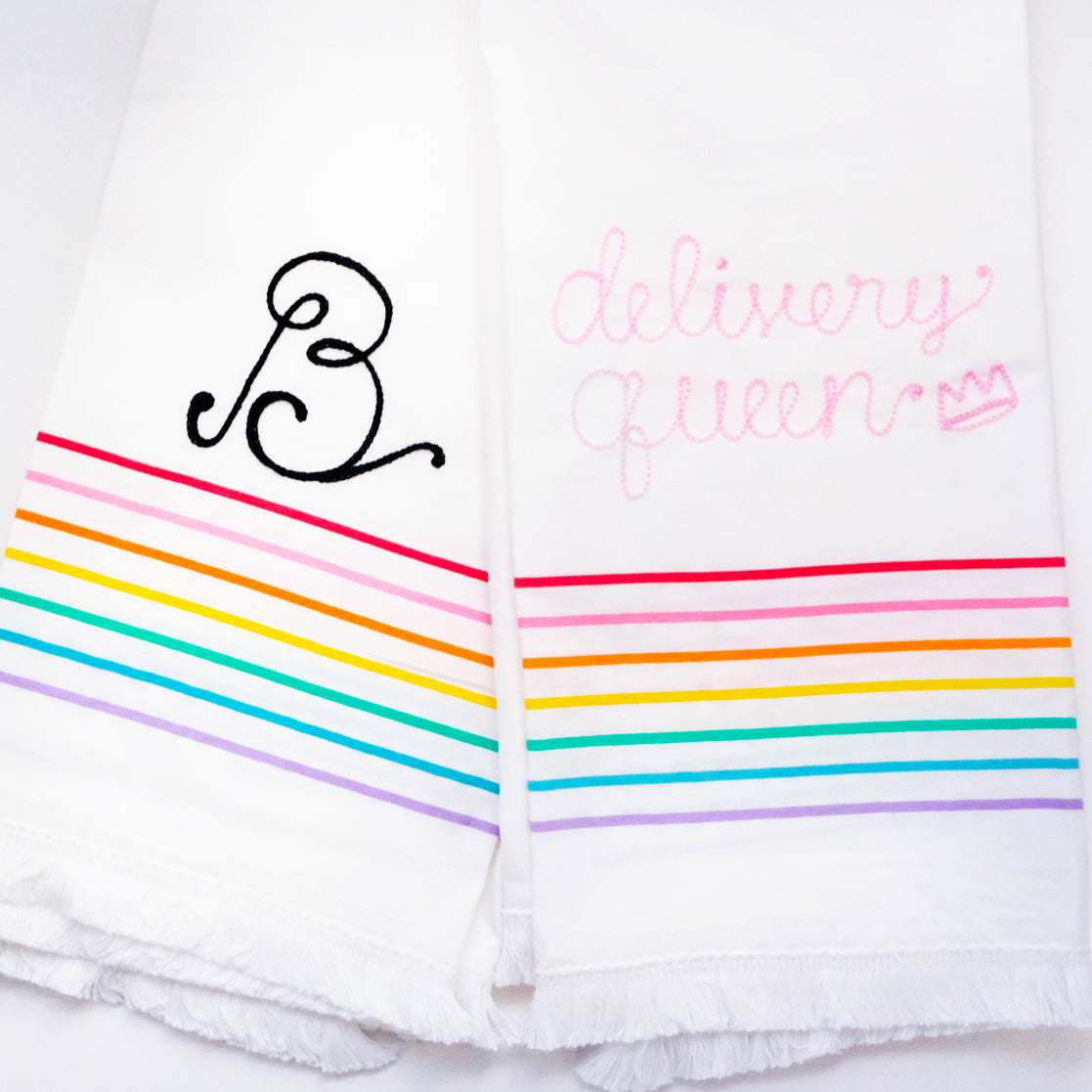 Custom Rainbow Tea Towel