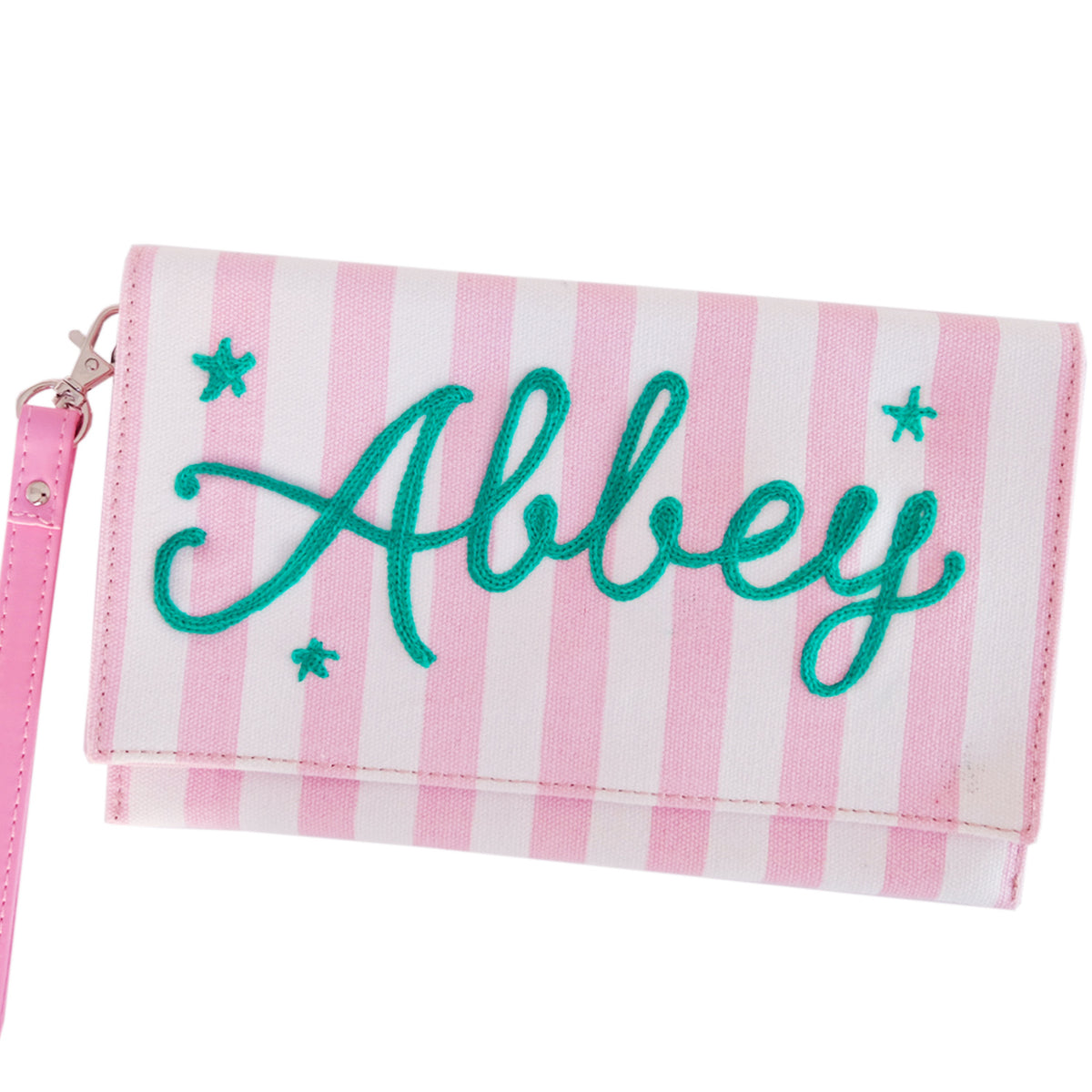 Personalized Pink Striped Clutch - Daily Disco