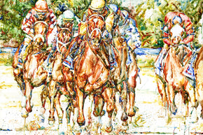 "Richard Sullivan Louisville Artist Equestrian Print of ""Charismatic and Field"" from the Kentucky Derby Museum"