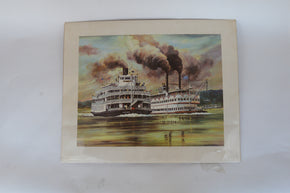 William E. Reed Offset Lithograph of Steamboats