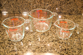 Three Pyrex Measuring Bowls