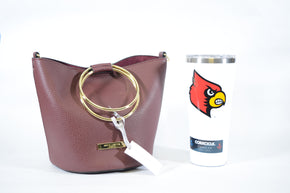 Katie Loxton of London Hand Bag and UofL Tumbler