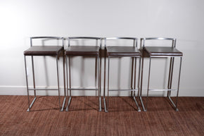 Metal and Leather Bar Stools