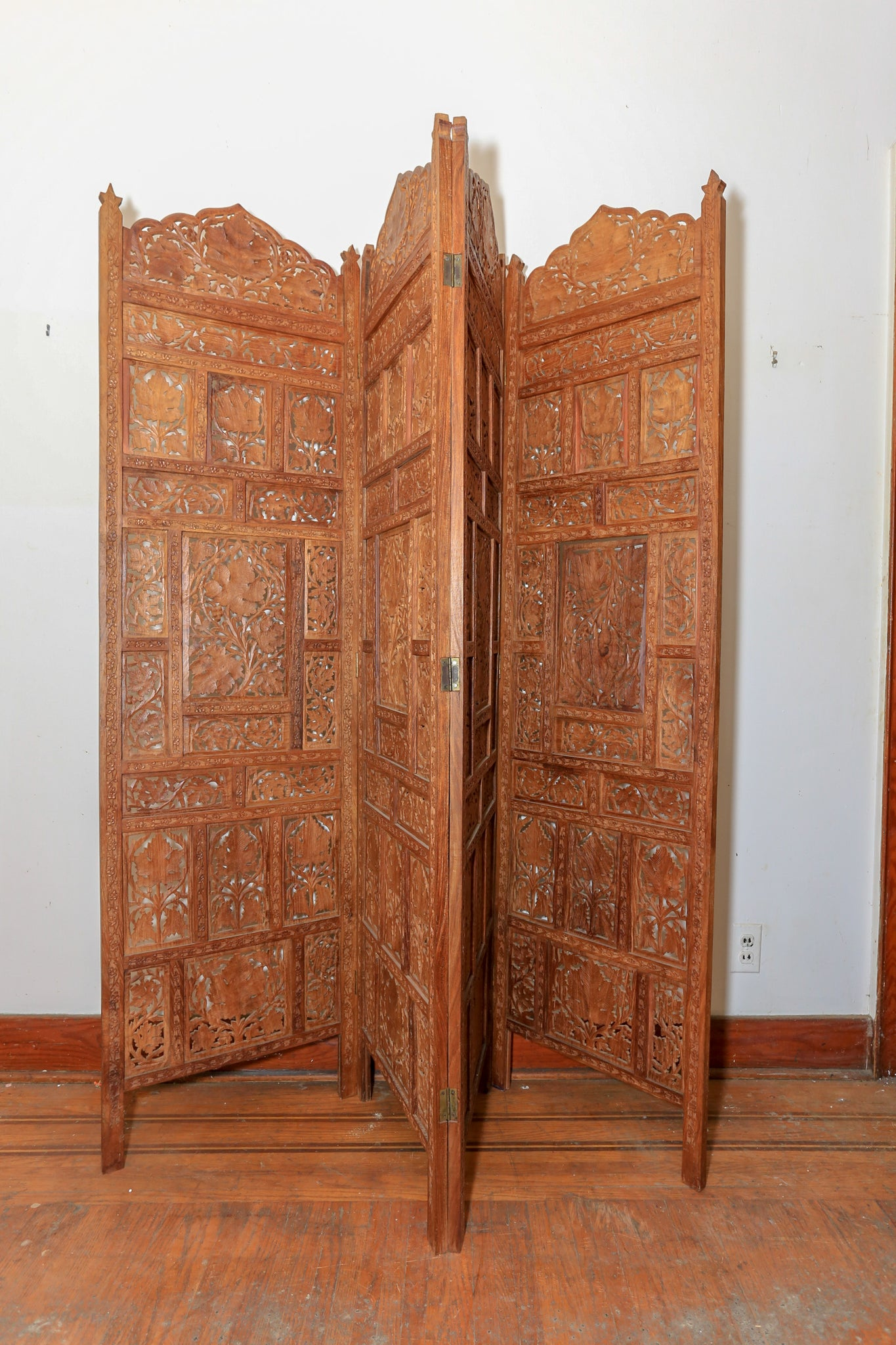 Vintage Hand Carved Wooden Folding Room Screen