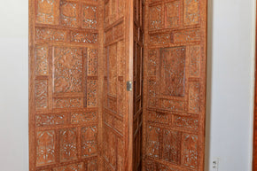 Vintage Hand Carved Wooden Folding Room Screen1