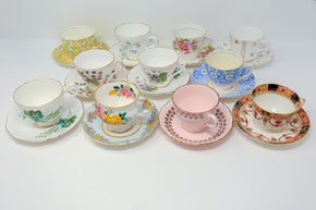 Collection of Vintage Teacups and Saucers