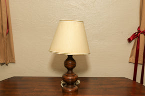 Vintage wood table lamp with shade