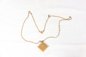 Gold toned square Locket and chain