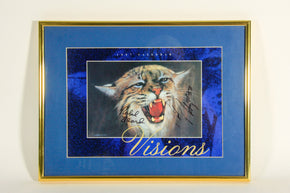 Framed Print of a Wildcat signed by Kentucky basketball's Ralph Beard and Rick Robey
