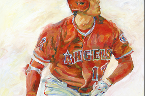 "Los Angeles Angels Shohei Ohtani 36"" x 48"" Acrylic on Board Original Artwork by Richard Sullivan"