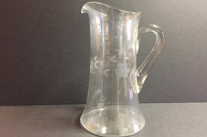 Vintage Etched Glass Pitcher1