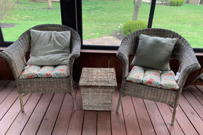 Pair of Wicker Chairs and Accent Table
