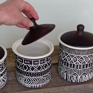 AFRICA MODERN MUD CLOTH CANISTER SET OF 3