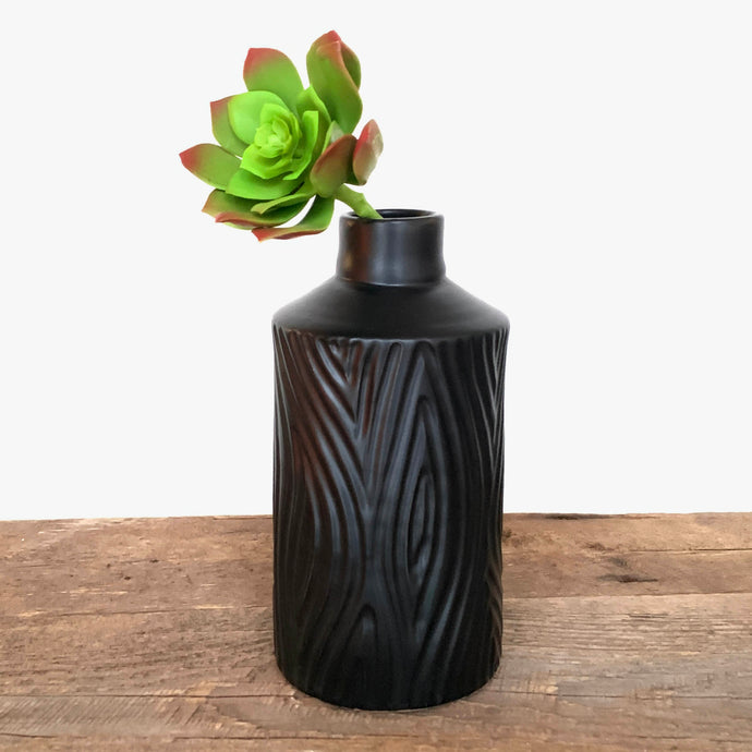 COAL CORY VASE IN WOOD GRAIN