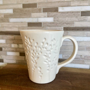 IVORY MUG 16 OUNCES WITH CARVED BRANCHES