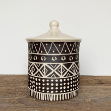 "Load image into Gallery viewer, AFRICA MODERN MUD CLOTH CANISTER (7"" TALL) B"