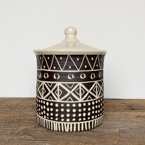 "AFRICA MODERN MUD CLOTH CANISTER (7"" TALL) B"