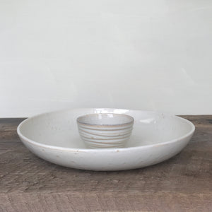 OATMEAL SHALLOW SERVING BOWL WITH DIP BOWL