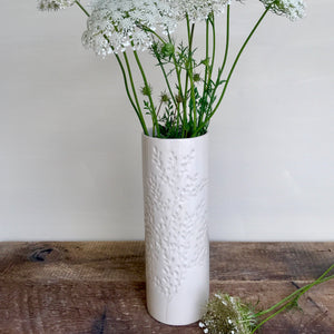 Ivory cylinder vase with carved branches - medium