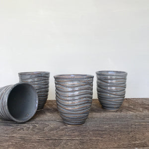 SLATE WINE CUPS WITH CARVED WAVES
