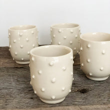 Load image into Gallery viewer, IVORY SHOT CUPS WITH DOTS SET OF 4