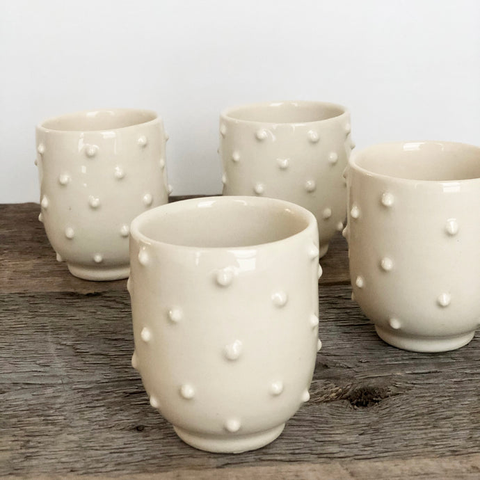 IVORY SHOT CUPS WITH DOTS