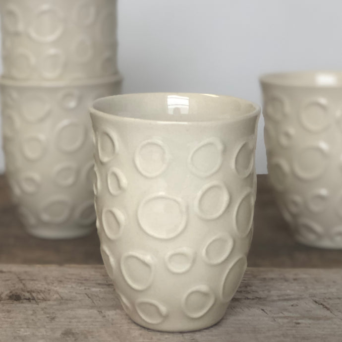 IVORY WINE CUPS WITH CIRCLES