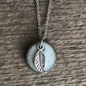 Petite Leaf Charm Necklace In White