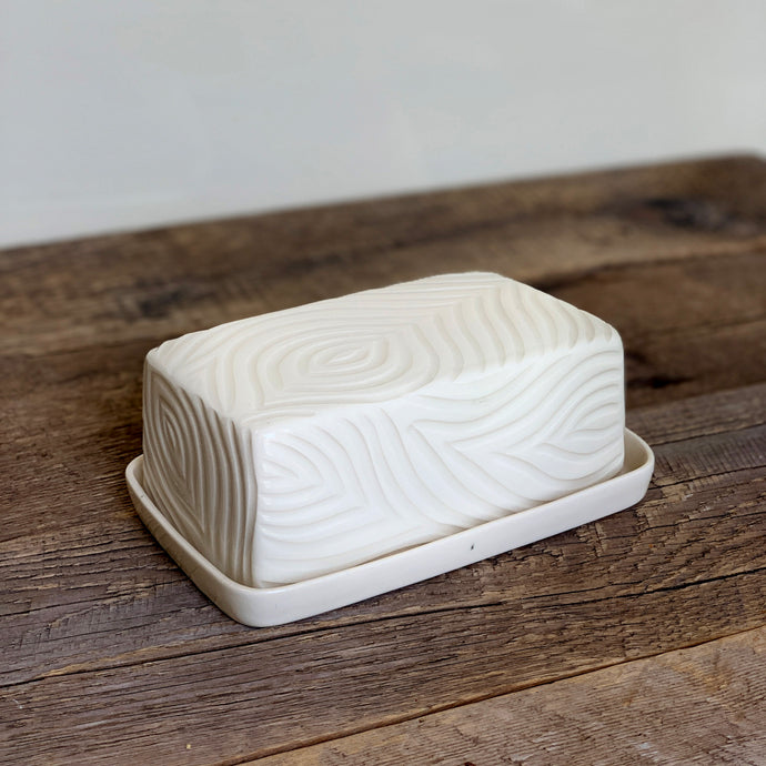 IVORY BUTTER DISH WITH CARVED WOOD GRAIN
