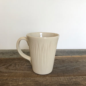 IVORY MUG 16 OUNCES WITH CARVED BLADES OF GRASS