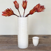 Load image into Gallery viewer, IVORY CYLINDER VASE IN WAVE-EXTRA LARGE