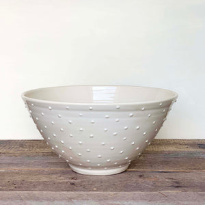 IVORY SALAD SERVING BOWL WITH DOTS