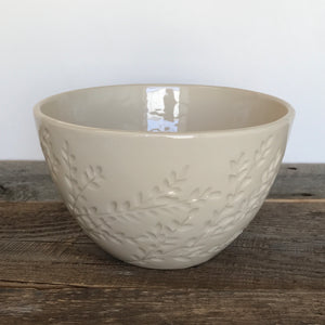 IVORY TALI SERVING BOWL WITH CARVED BRANCHES