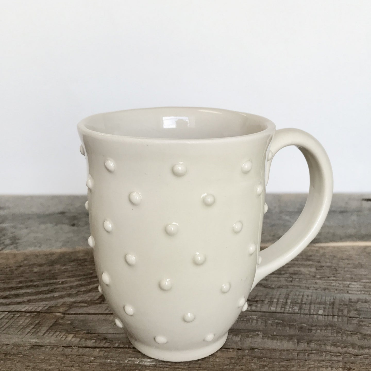 Handcrafted Carved White Mug with Dots