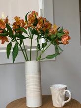 Load image into Gallery viewer, OATMEAL TWO TONE CYLINDER VASE WITH WAVES