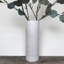 Load image into Gallery viewer, OATMEAL CYLINDER VASE WITH WAVES (MEDIUM)