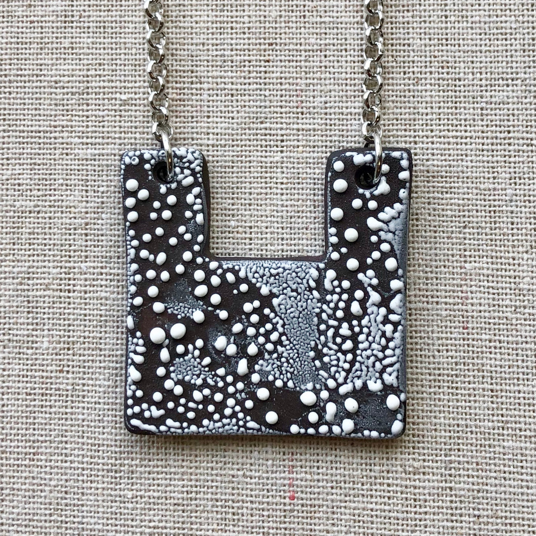 Square Contemporary Black and White Necklace