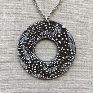 Circle Contemporary Black and White Necklace