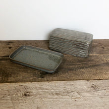 Load image into Gallery viewer, SLATE BUTTER DISH WITH CARVED WAVES