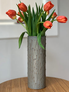 SLATE CYLINDER VASE WITH PUSSY WILLOWS