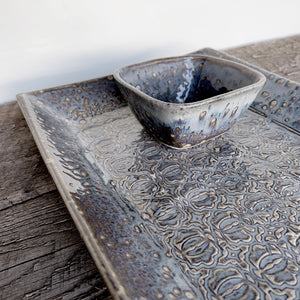 "SLATE MEDIUM RECTANGLE PLATTER SET WITH BAROQUE (7.5"" X 12.5)"