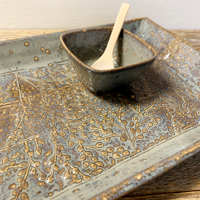SLATE LARGE RECTANGLE PLATTER SET WITH BRANCHES