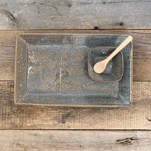 "SLATE MEDIUM RECTANGLE PLATTER SET WITH BRANCHES (7.5"" X 12.5)"